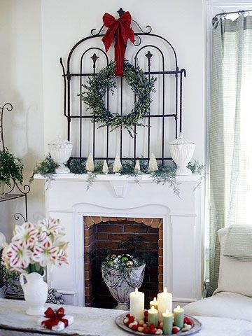 gateHoliday, Decor Ideas, Gardens Gates, Wrought Iron, Christmas Decor, Old Gates, Christmas Mantles, Christmas Mantels, Iron Gates