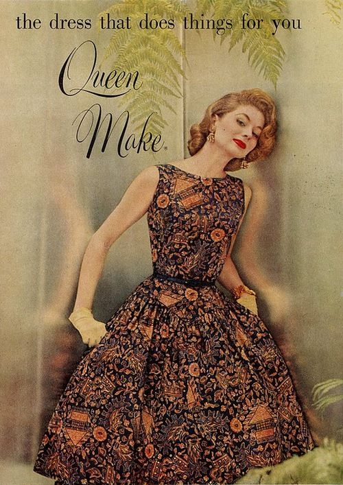Model wearing a dress of Queen Make batik fabric by Joseph Goldringer, 1950s. #retro