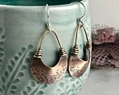 Monili di rame Wire Wrap orecchini orecchini di rame fatti a mano gioielli di metallo misto rustico gioielli di metallo Boho gioielli regalo per suoi orecchini