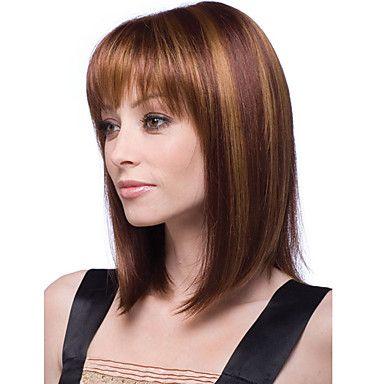 las mujeres bobo de 12 pulgadas cosplay corta peluca de pelo sintético llena recta Bang mixcolor amarillento marrón con redecilla libre - EUR € 13.51