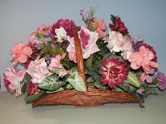 Extra Large Silk Flower Centerpiece Wicker Basket Variegated