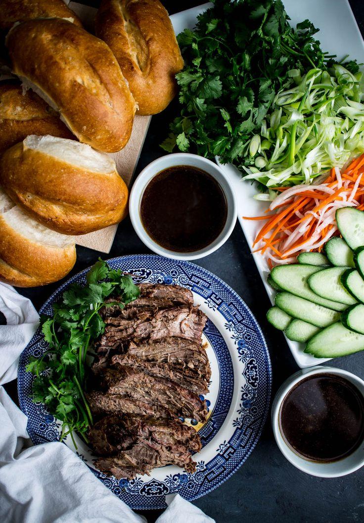 Slow Cooker Tri Tip Dip Banh Mi