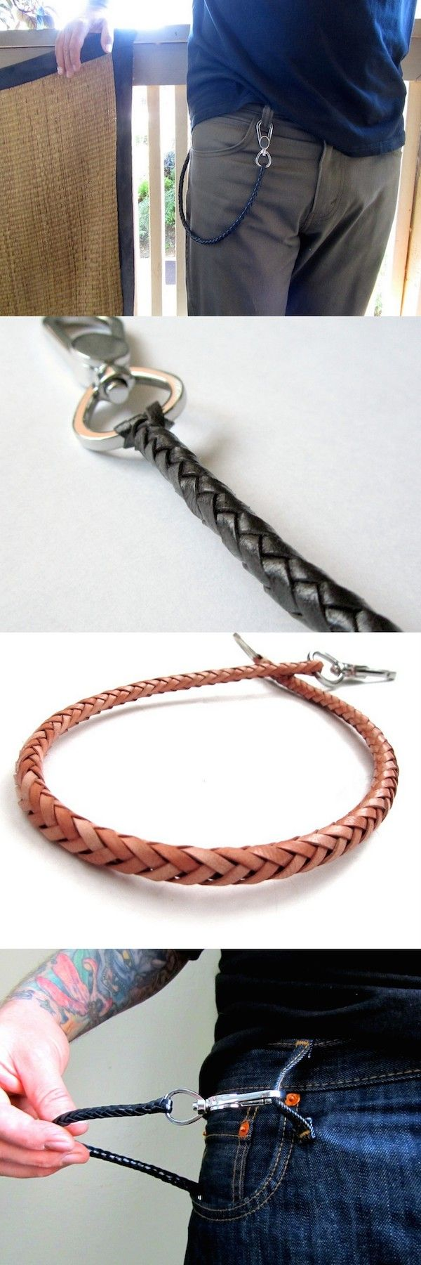 San Filippo Leather's Braided Leather Wallet Chain. Great alternative to a regular metal chain.  Mens fashion