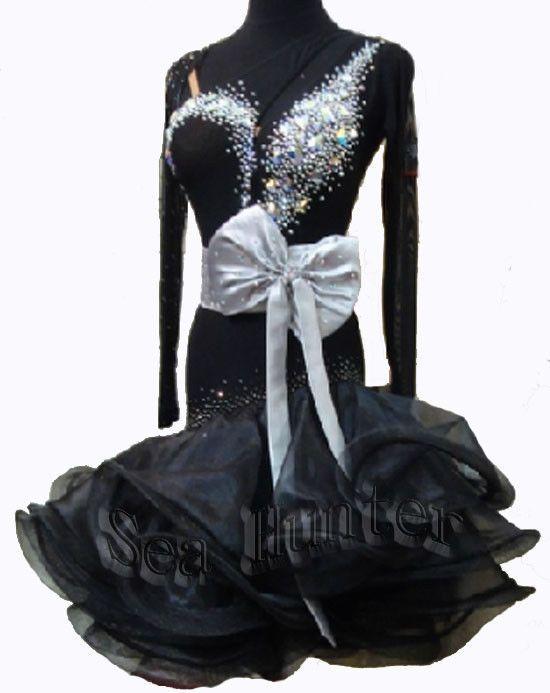 Sexy Black BallroomCrystal Cha Cha Ramba Latin US6 Dance Dress #Ld 1725 Sleeve