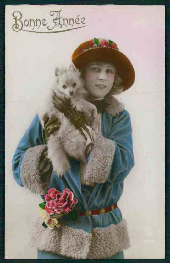 Pretty Deco Lady Spitz Pomeranian Dog Puppy original old 1920s photo postcard