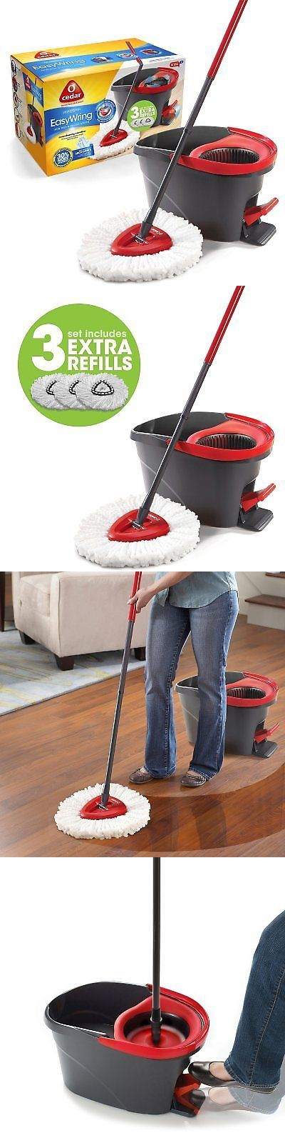 Mops and Brooms 20607: O-Cedar Easy Wring Spin Mop Bucket System With 3 Extra Refills New Free Shipping -> BUY IT NOW ONLY: $46.86 on eBay!