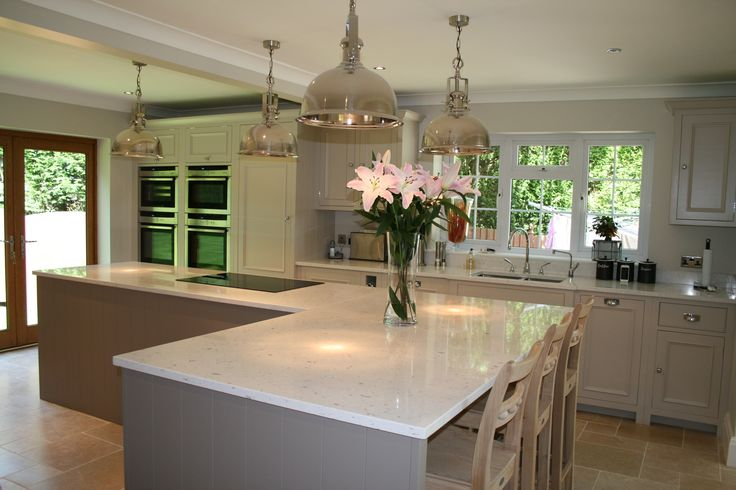Neptune Chichester kitchen painted in Farrow and Ball Elephants Breath and Skimming Stone