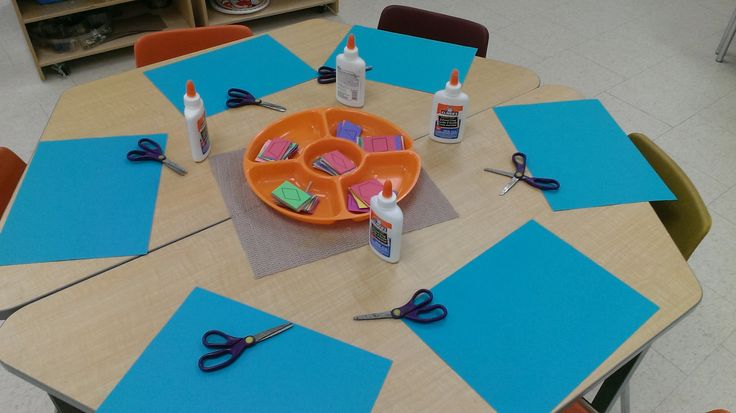 Shape monsters.  Photocopy shapes onto construction paper for kids to cut and glue.