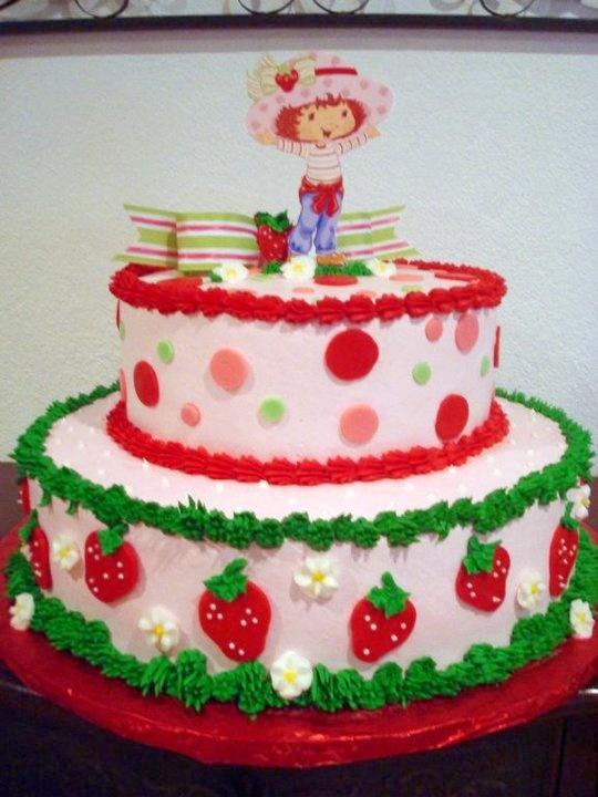 Strawberry Shortcake cake I made for a little girl. I  also made the little cake topper.