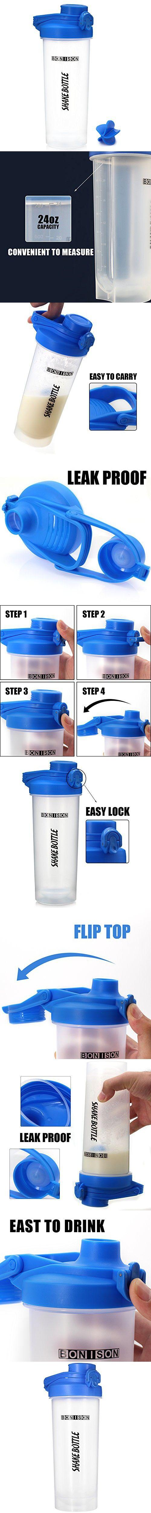 Newest 24 OZ Twist Cap Shake Bottle BPA and Phthalate-Free Plastic Mixer Protein Smoothies Shakes Mix Powders Shaker Bottle -Blue