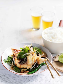 Crisp snapper and snake bean salad with Thai basil, soy and ginger