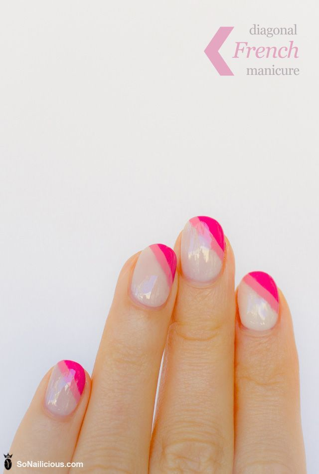 Diagonal french manicure, pink nail art (Revlon Brilliant Strength 200 Embody, OPI I Think In Pink, OPI Ate Berries in the Canaries and Essense Quick Dry)