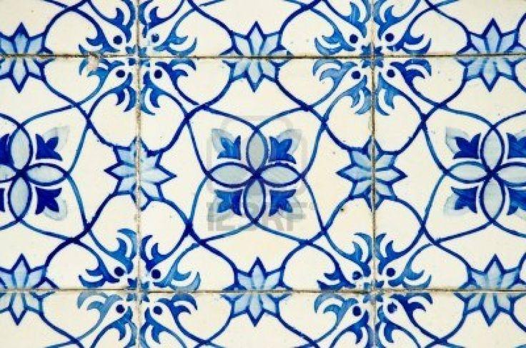 Azulejos portoghesi, vecchio sfondo piastrelle blu. Archivio Fotografico