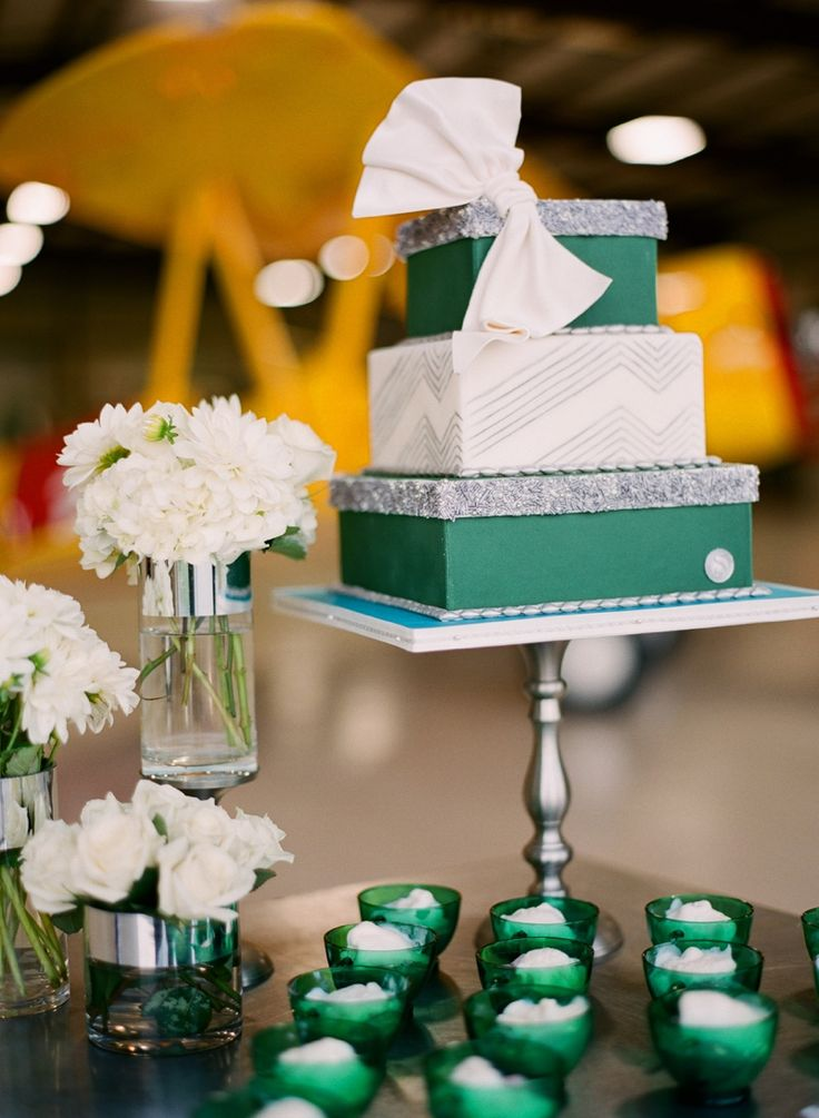 Love the simple elegant presentation. repinned from Nicole Sowards Emerald Green Aviation Inspired Wedding Cake