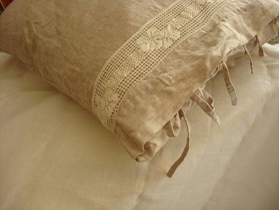 Beige linen pillowcase rustic chic stonewashed linen pillow sham with linen lace and ties  ORIGINAL DESIGN  by LUXOTEKS