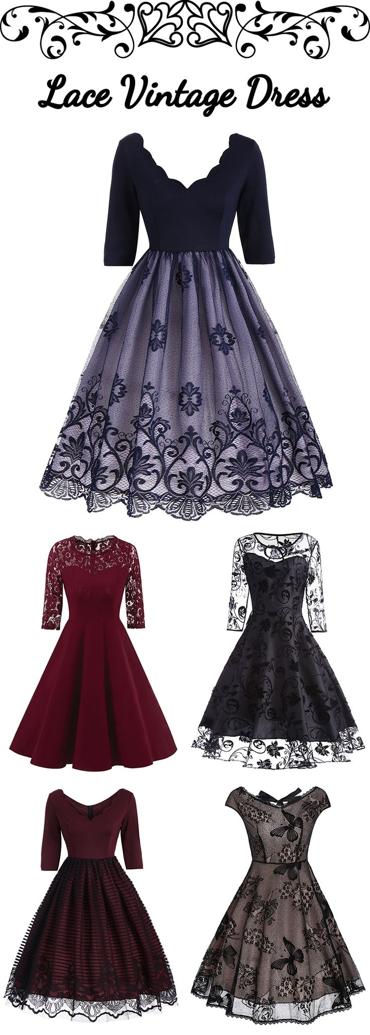 100+ Lace Vintage Dresses | From $2.99 | #bottomprice #vintage #Dress