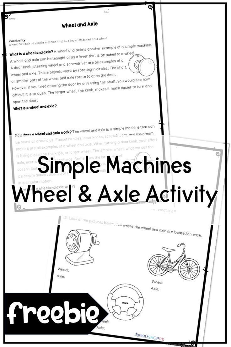 Simple Machines Wheel and Axle Activity   Upper elementary resources [ 1104 x 736 Pixel ]