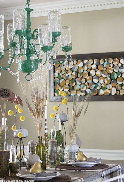 upcycled vintage inspired chandelier, dining room ideas, lighting, mason jars, painting, repurposing upcycling