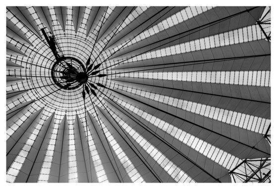 Sony Centre, Berlin   Helmut Jahn #sonycenterberlin #roof #arup #potsdamerplatz #structure #elliptical #plaza #glass #membrane #umbrella #architecture #architect #helmutjahn #forum #berlin #germany #blackandwhite #greyscale #monochrome