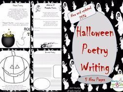 "his is 15 pages of Halloween themed poetry writing. The poetry writing examples used in the unit are original verse. The students get so involved in Halloween each year and are so motivated by the numerous ""scary themes"" they are more susceptibl..."