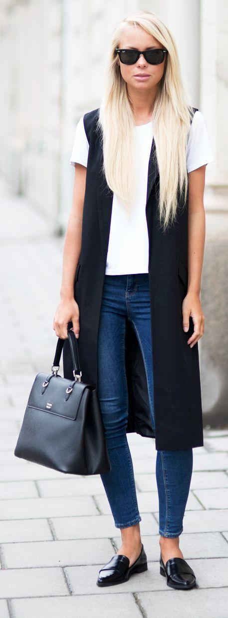 Vest coat with white tee and blue jeans  shop similar vest coat on siizu.com
