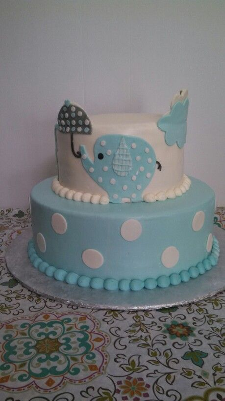 Baby Shower Cake With Elephant Theme.
