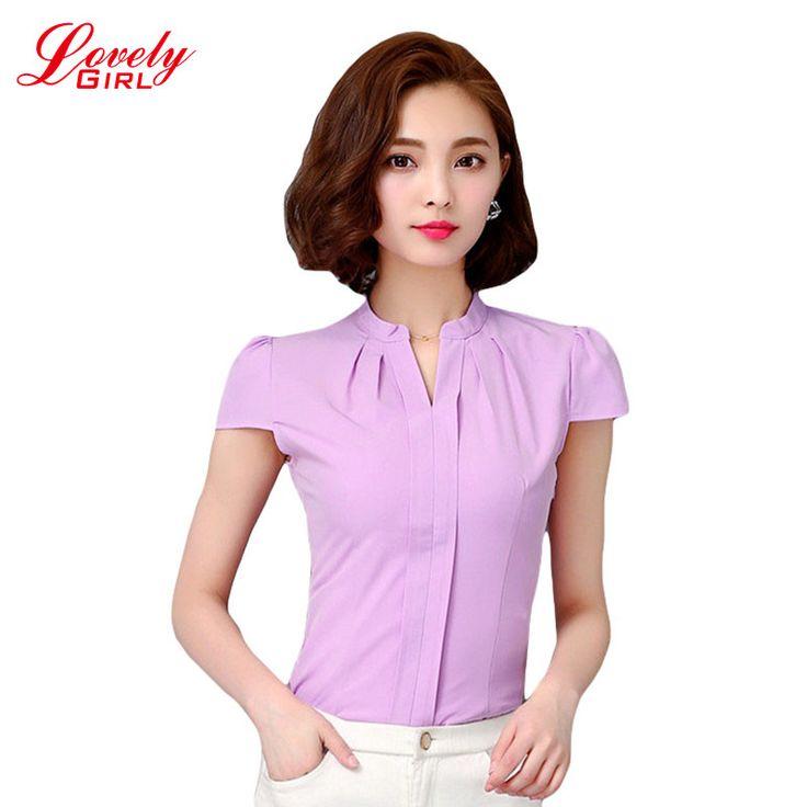 Дамы офис рубашки 2016 летняя рубашка женщина белый и фиолетовый цвет работы носят одежду корейской стиль женские блузы и топы продажа купить на AliExpress