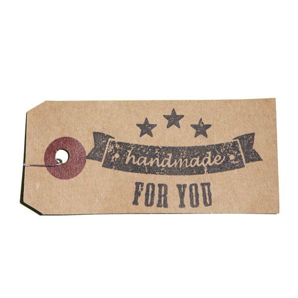 Tampon en bois vintage Handmade for you sur étiquette kraft
