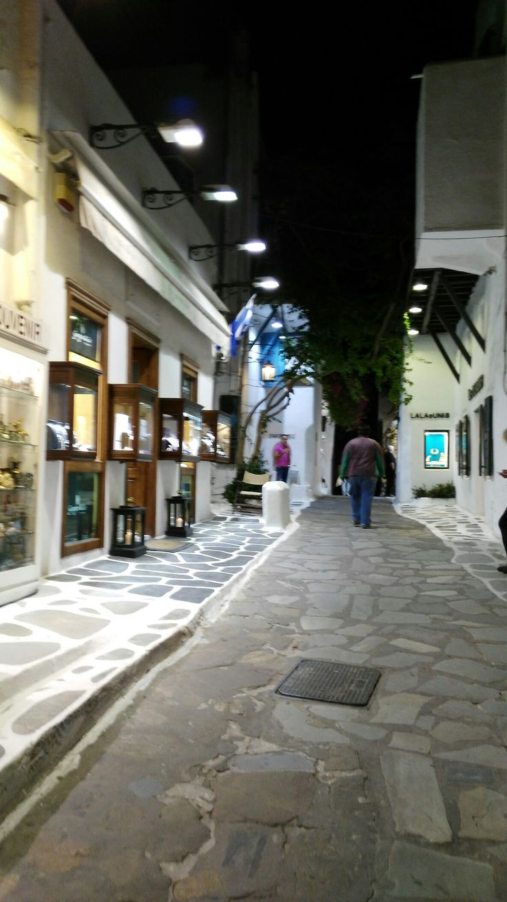 Mykonos town at night