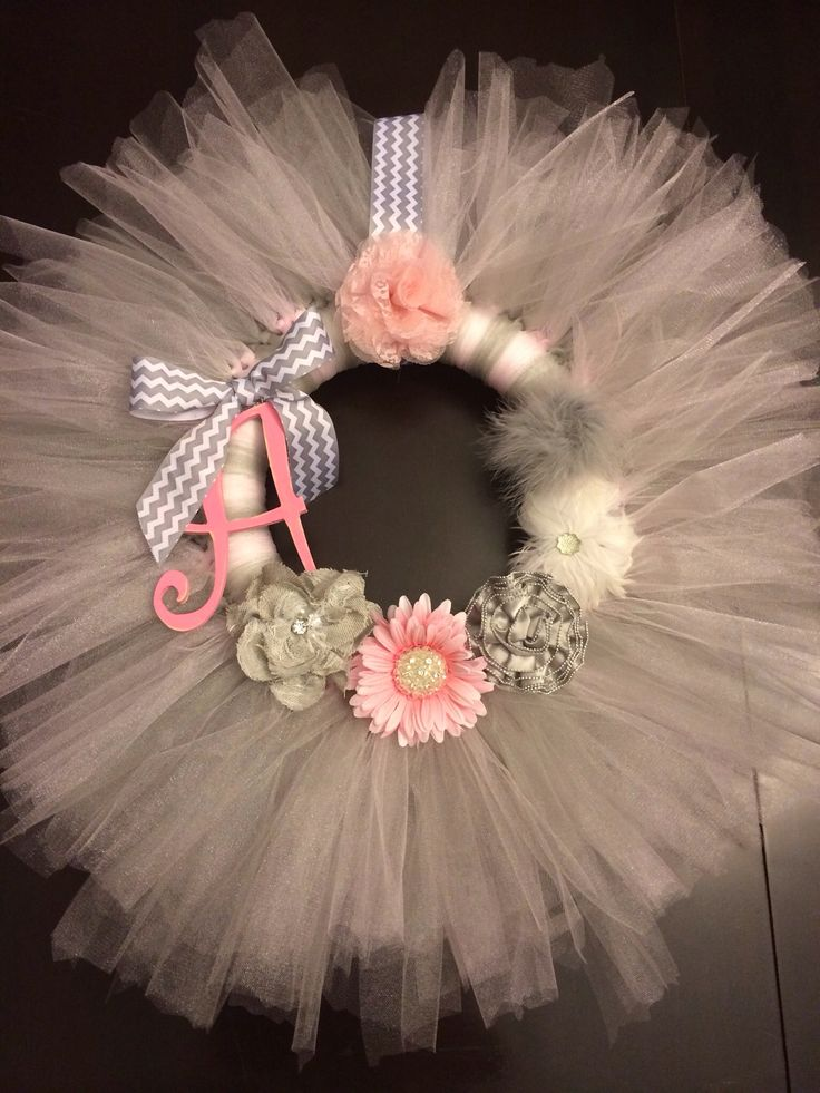 Tutu Wreath I made for the arrival of my baby girl Annabelle Grace!