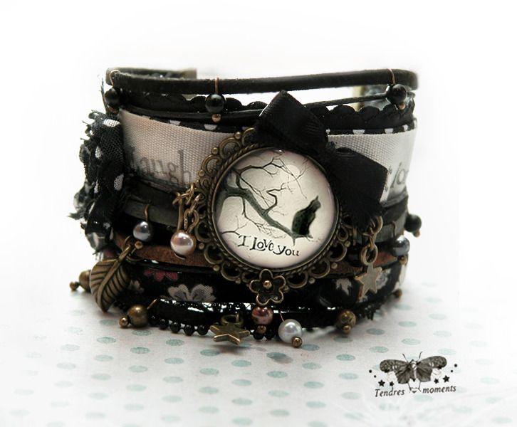 Bracelet manchette °Chat au clair de lune°. Bracelet par tendres-moments