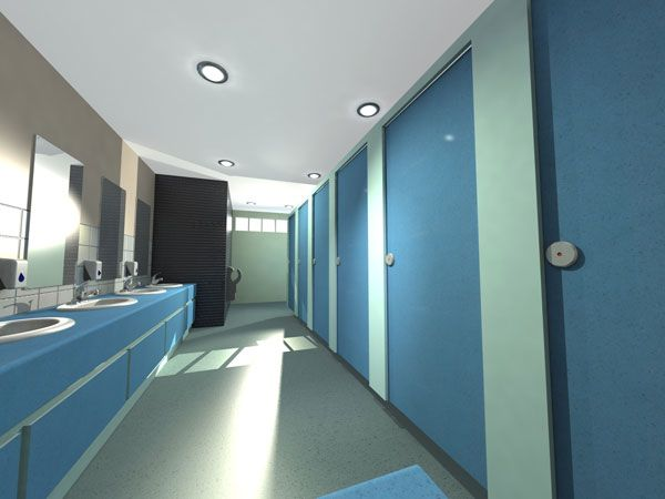 Blue Volante washroom, cubicles and vanity unit