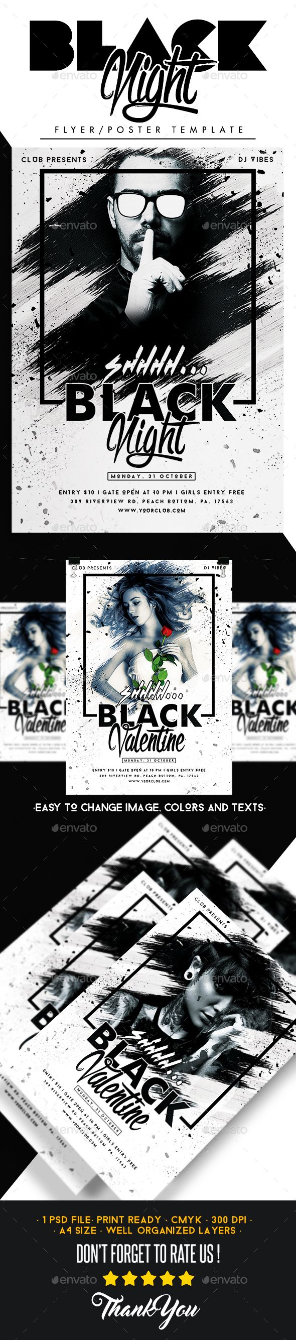 Black Night Flyer  — PSD Template #template #vip • Download ➝ https://graphicriver.net/item/black-night-flyer/18358382?ref=pxcr