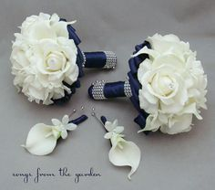 Navy Wedding Flower Package Bridesmaid Bouquets Groomsman Boutonnieres Silk Stephanotis Real Touch Roses Real Touch Calla Lilies