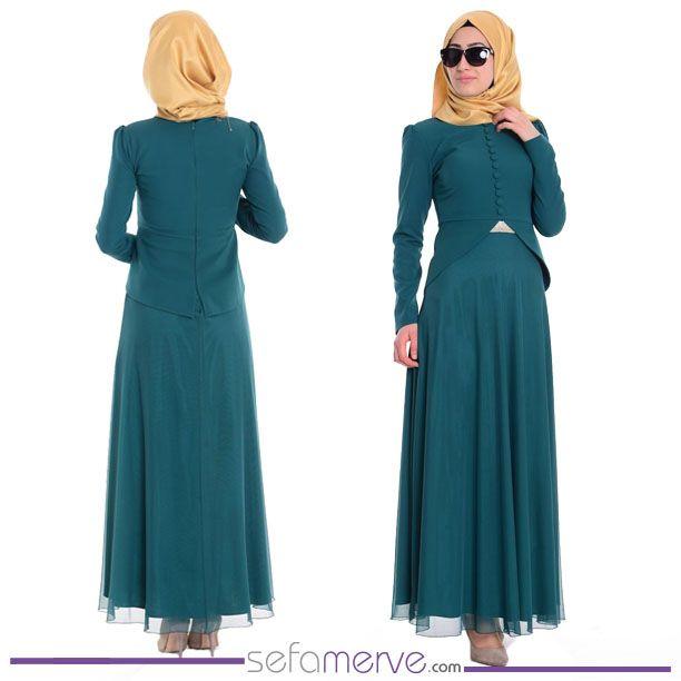 Düğme Detaylı Krep Elbise 55851-05 Yeşil #sefamerve #tesetturgiyim #tesettur #hijab #tesettür