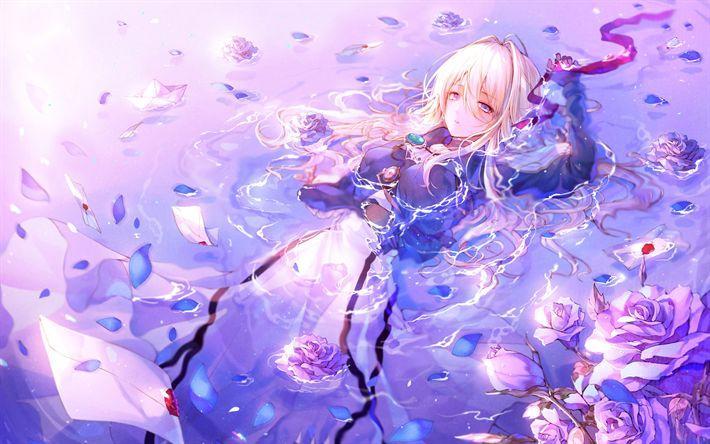 Herunterladen hintergrundbild violett evergarden, blumen, manga, anime-figuren, kunst