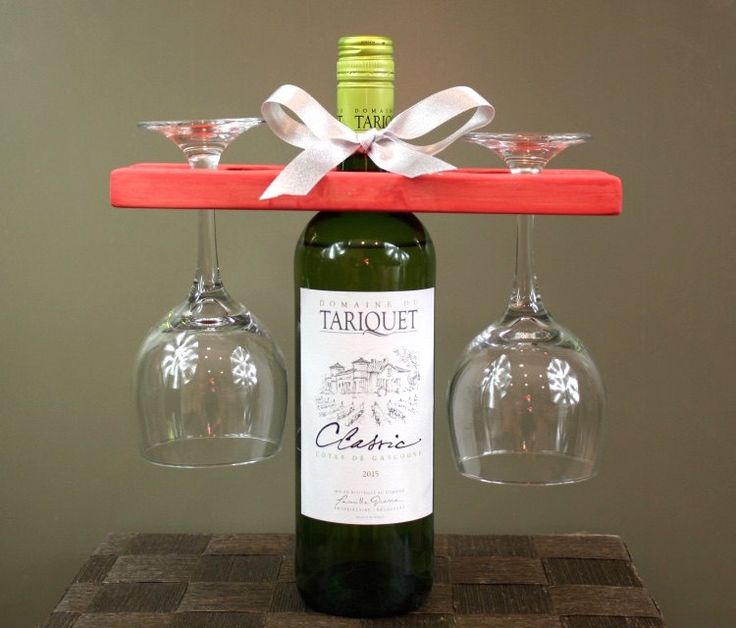 Wine Glass Holder Placed Over a Wine Bottle | Holds Two Wine Glasses | Long or Short Stem Wine Glass | Wine Lover | Party Gift | Wine Caddy by ArgylePines on Etsy https://www.etsy.com/listing/479887700/wine-glass-holder-placed-over-a-wine