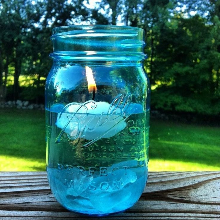Glass Sea Blue Mason Jar With Floating Candle Holders For