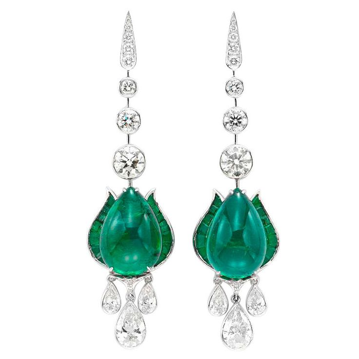 VIREN BHAGAT. A pair of emerald cabochon and diamond ear pendants set in platinum. Pear shaped emerald cabochons weighing approximately 25.19 carats total, total diamond weighing approximately 7.27 carats, 0.79cts, 0.27cts, 2.53cts, 1.52cts.India ca. 2011