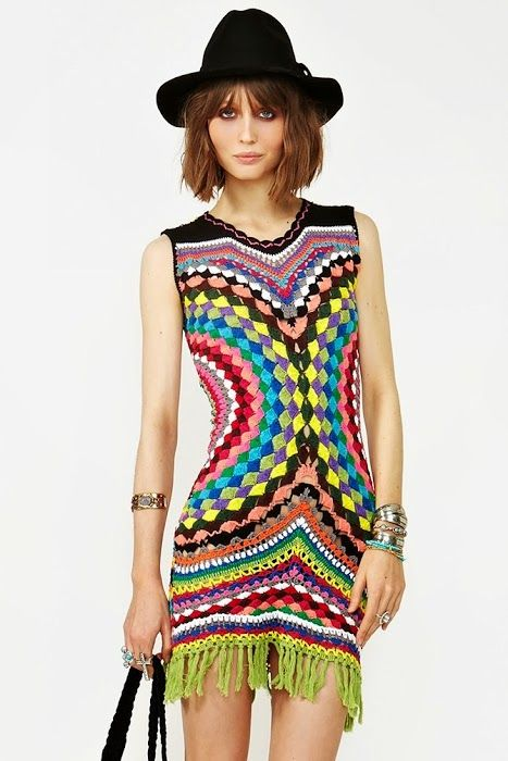 another clever crochet wearable from two circles - bright tunic -  fab!