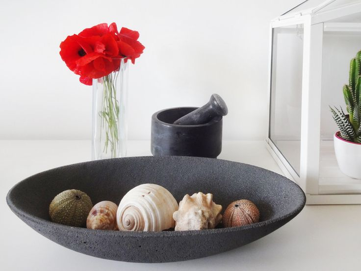 """Attractive, heavy oval shape of the concrete bowl """"LUNA"""" perfectly blend in with modern design of your room. Moreover it makes your minibar look elegant.  Width 16.5 cm Length 36 cm Height: 6.5..."""