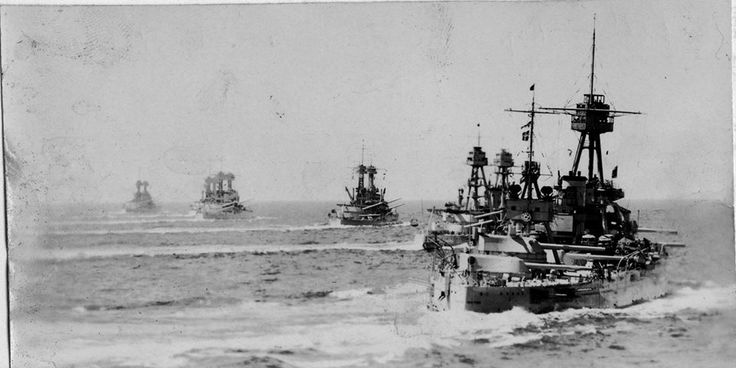 US battleships at sea during the interwar period. Date and location unknown