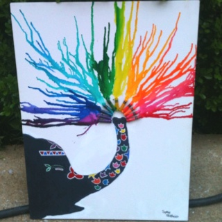I did My very first melting crayon art! You can b original if you u only brain storm for a little b4 u melt! The rain is cool but its also awesome to get creative and think up sumtin urself...such as an elephant shooting water! There r so many things you can do! ;) -sophie