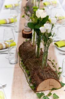Holzdeko mit Reagenzgläsern für Hochzeit, Geburtstag, Taufe