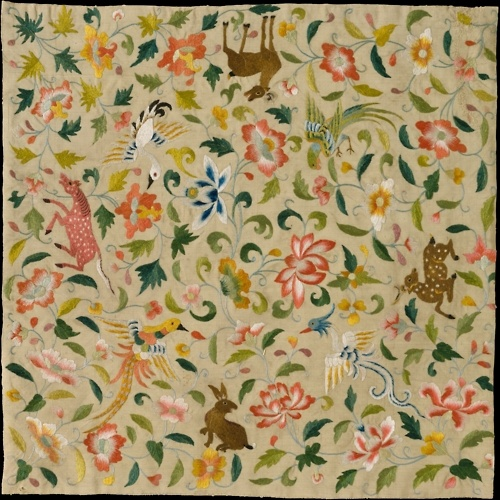 Silk embroidered textile, made in Eastern Central Asia, in the late 12th-14th century