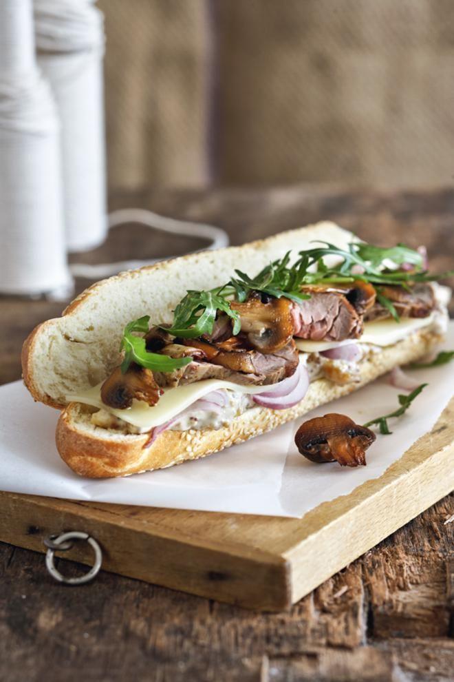 Σάντουιτς+με+μοσχάρι+ψητό+με+κασέρι+και+μανιτάρια