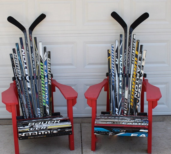 Hockey Stick Adirondack Chairs by HockeyStickStuff on Etsy, $750.00