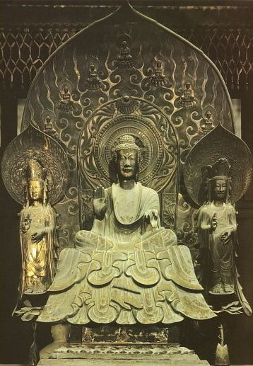 Shaka Trinity, Asuka Era, Horyu-ji, Nara. Remarkable example of early T'ang style. It is in the Tachibana Shrine at Nara, named for an aristocratic lady who gave it to Horyu-ji in the late 7th or early 8th century.