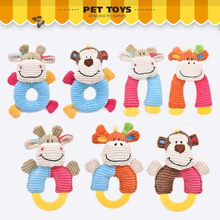 best price cute little animal stripe design dog toys soft warm pets cat puppy chew squeaker toy fun #sound #bites