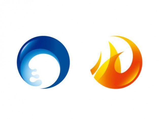 Wasser und Feuer Kreis Symbol Vektor Material